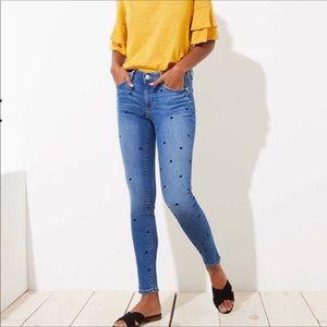 Loft modern skinny polka dot high rise jeans